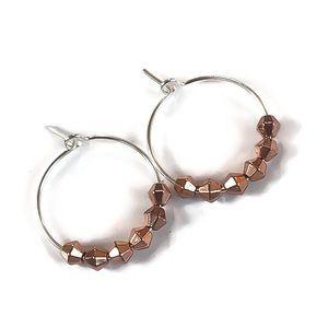 """3/4"""" Hoop Earrings w/ faceted nugget beads!"""